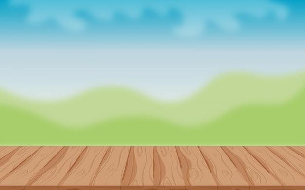 Mesa de madeira no fundo ao ar livre