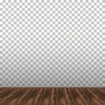Mesa de madeira no fundo transparente