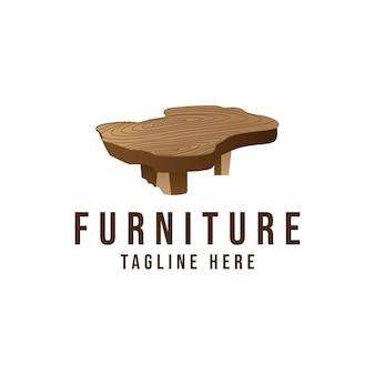 Mesa de madeira retrô e minimalista mobília moderna logotipo símbolo ícone design