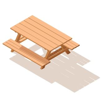 Mesa de madeira rua isométrica com bancos. Vetor Premium