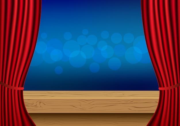 Mesa de madeira vazia de vetor e cortinas vermelhas de luxo para anunciar a exposição do produto