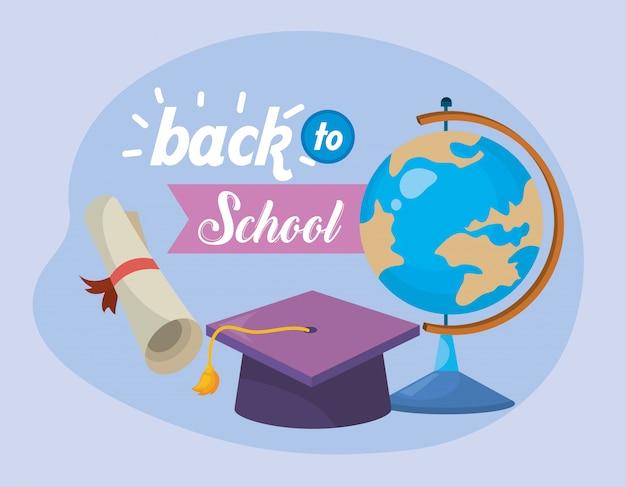 Mesa de mapa global e chapéu de formatura com diploma