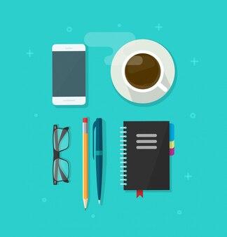 Mesa de mesa com objetos de escritório
