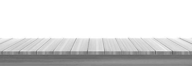 Mesa de mesa de madeira ou prateleira isolada no fundo branco.