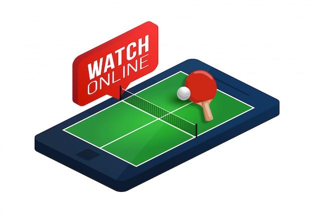Mesa de pingue-pongue na ilustração isométrica do conceito on-line da tela do telefone. conceito isométrico de tênis de mesa online.