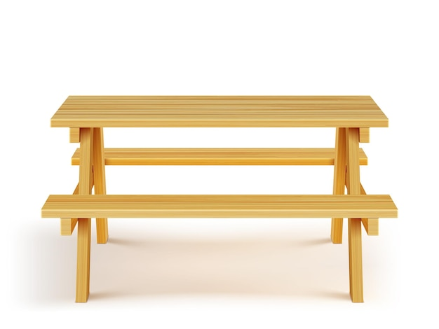 Mesa de piquenique de madeira com bancos, móveis de madeira em fundo branco.