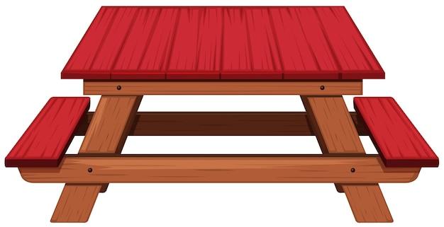 Mesa de piquenique pintada de vermelho