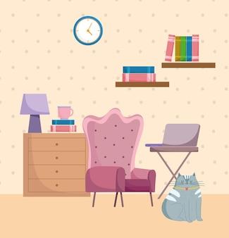 Mesa de poltrona clássica de interior de escritório em casa com laptop e ilustração de relógio na parede