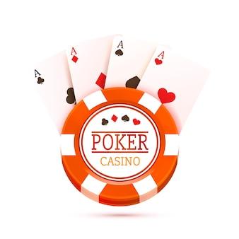 Mesa de pôquer com as cartas e fichas em um fundo branco. ilustração vetorial