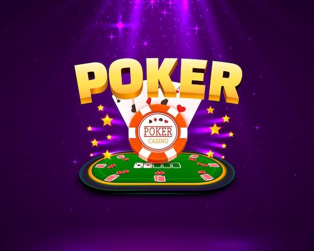 Mesa de pôquer com as cartas e fichas em um fundo roxo. ilustração vetorial