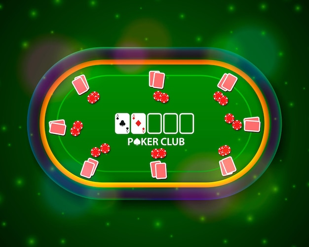 Mesa de pôquer com as cartas e fichas em um fundo verde. ilustração vetorial