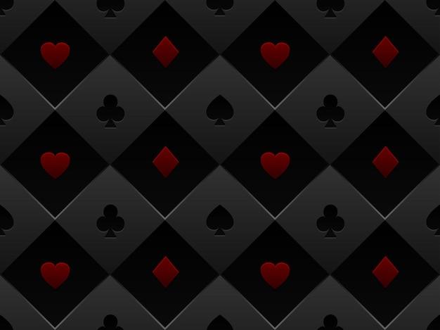 Mesa de pôquer de tecido padrão sem costura preto e vermelho. fundo minimalista de cassino com textura composta de cartão de volume