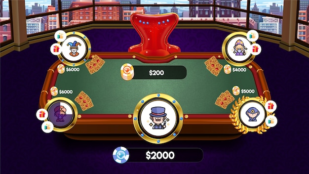 Mesa de pôquer do game casino com fichas e cartas para game ui