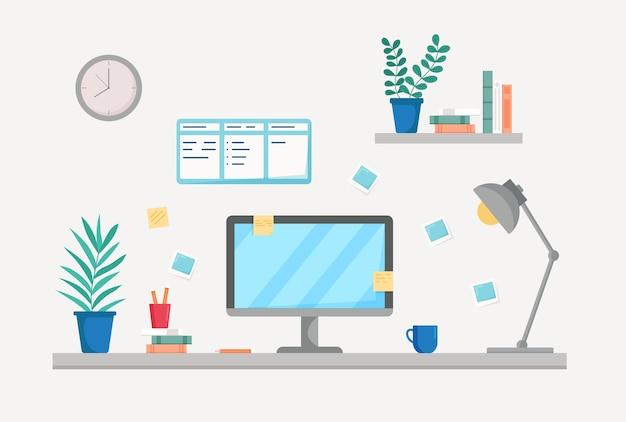 Mesa de trabalho com livros de computador xícara de plantas de café interior da sala de trabalho