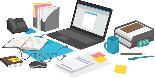 Mesa de trabalho com notebook portátil e papelada.