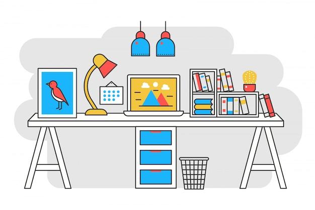 Mesa de trabalho design de linha plana