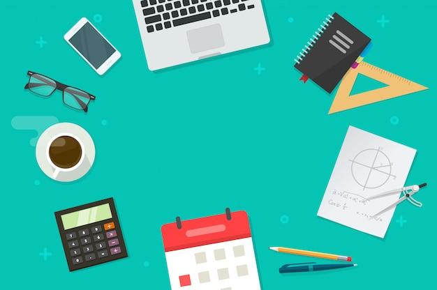 Mesa de trabalho e objetos de educação ou escola e espaço de cópia para desenhos animados plana de texto leigos vista superior