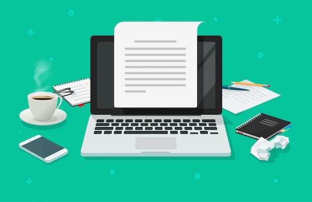 Mesa de trabalho escritor e folha de papel de computador com conteúdo escrito plana dos desenhos animados