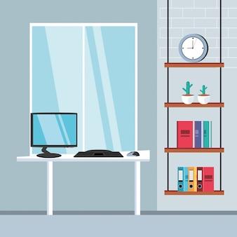 Mesa do computador com escritório de suprimentos no local de trabalho
