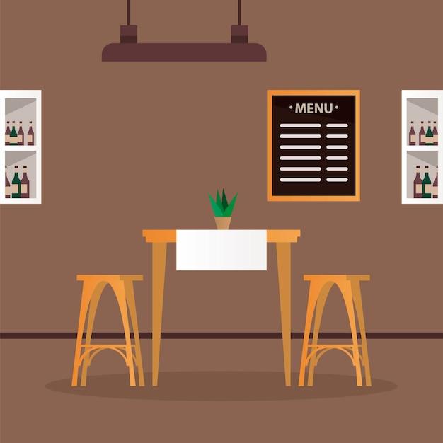 Mesa e cadeiras elegantes com vinho em cena de restaurantes