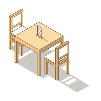 Mesa e cadeiras móveis isométricas.