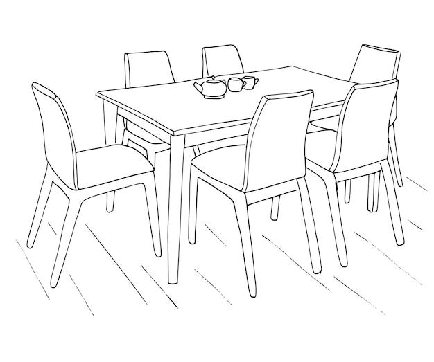 Mesa e cadeiras. na mesa estão duas xícaras. esboço desenhado de mão. ilustração em vetor.