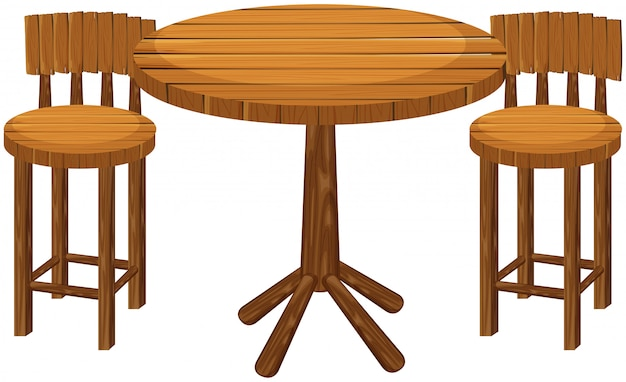 Mesa e cadeiras redondas de madeira