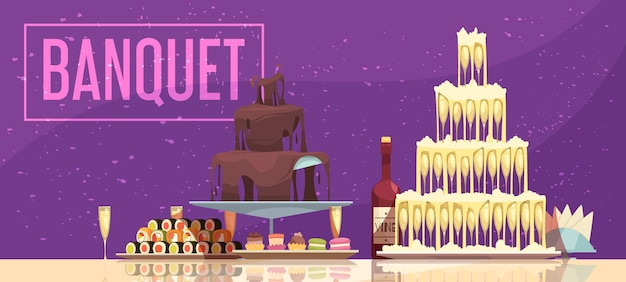 Mesa festiva de banner horizontal de banquete com garrafa de vinho e copos de doces e lanches fundo roxo
