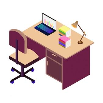 Mesa isométrica, cadeira e laptop