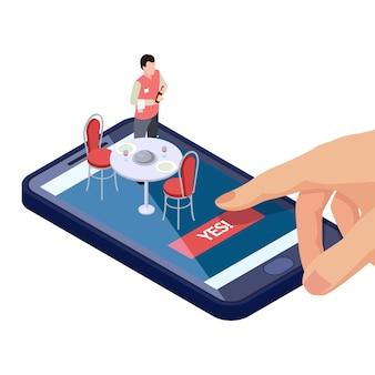 Mesa online em restaurante ou café reserva com aplicativo móvel