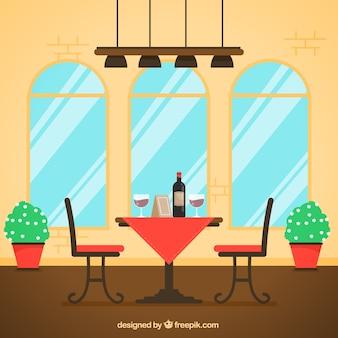 Mesa para dois, cena do restaurante estilo plano