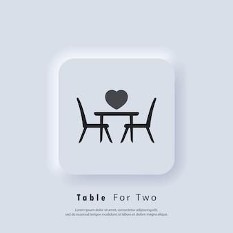 Mesa para dois. mesa e cadeiras. mesa de jantar e cadeiras para duas pessoas. vetor. ícone da interface do usuário. botão da web da interface de usuário branco neumorphic ui ux.