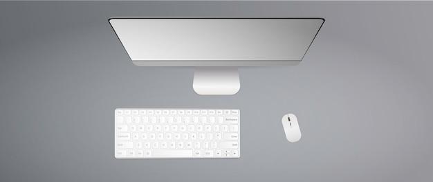 Mesa plana com vista superior. teclado, mouse de computador, monitor. realista