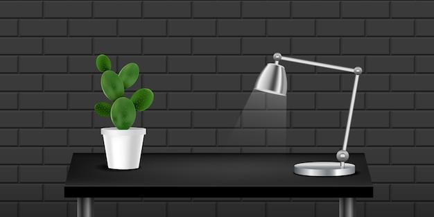 Mesa realista preta com cacto e lâmpada, parede texturizada preta.