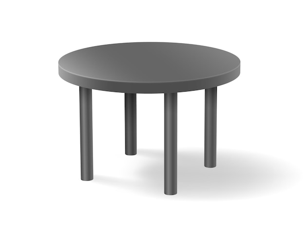 Mesa redonda cinza realista isolada.