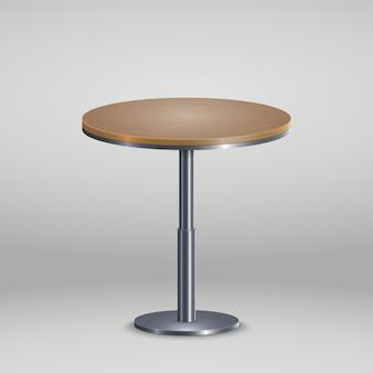 Mesa redonda com placa de madeira
