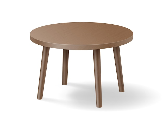 Mesa redonda de madeira realista isolada. mesa de madeira marrom detalhada com sombra.
