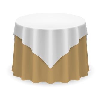 Mesa redonda em branco com toalha de mesa nas cores branco e bege