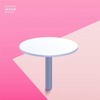 Mesa redonda em fundo pastel