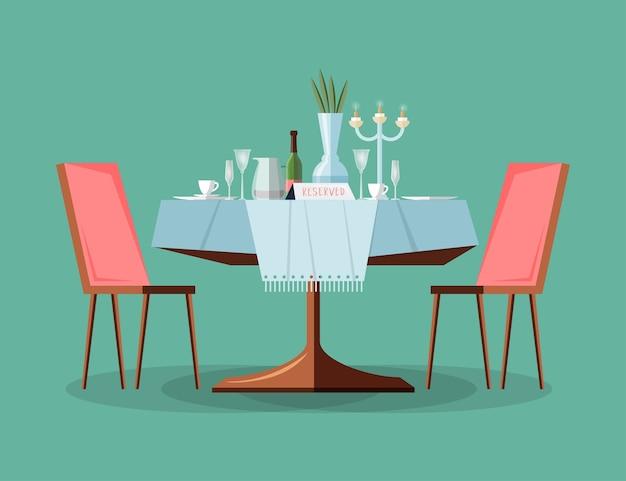 Mesa reservada em restaurante moderno com toalha de mesa