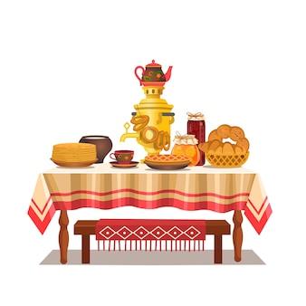 Mesa russa festiva com um samovar, panquecas, bagels, torta, geléia.