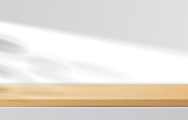 Mesa superior de madeira mínima vazia, pódio de madeira em fundo branco com folhas de sombra. para apresentação de produtos, mock up, exibição de produtos cosméticos, pódio, pedestal de palco ou plataforma. vetor 3d