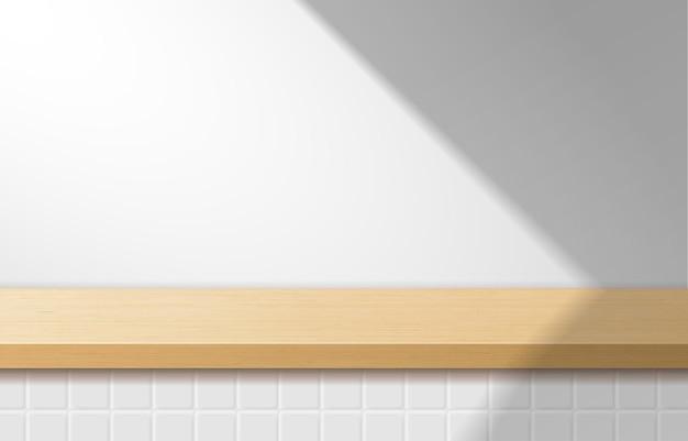 Mesa superior de madeira mínima vazia, pódio de madeira em fundo branco. para apresentação de produtos, mock up, exibição de produtos cosméticos, pódio, pedestal de palco ou plataforma. vetor 3d