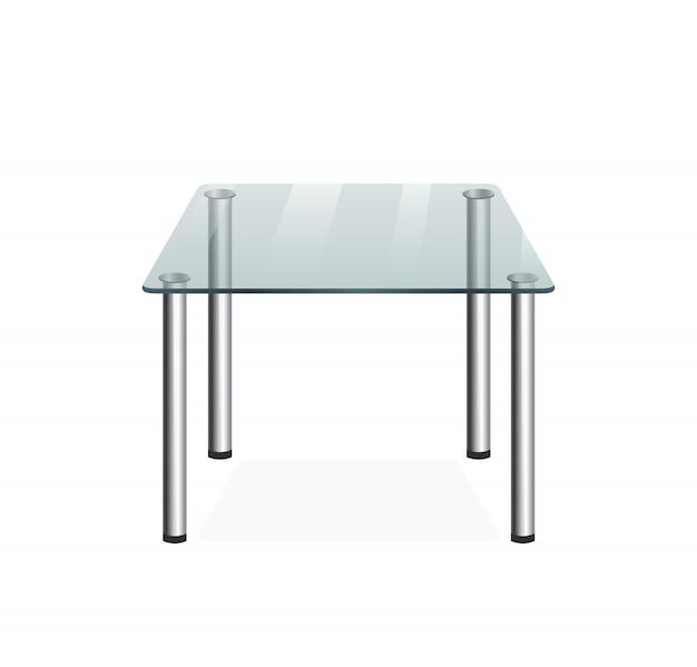 Mesa transparente de vidro