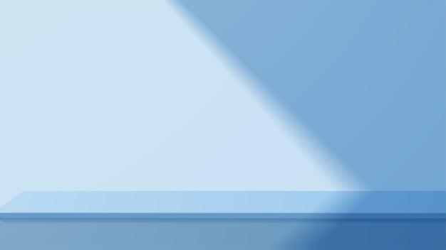 Mesa vazia de estúdio azul com belas luzes e sombras. display de suporte em branco ou mostrando o produto.