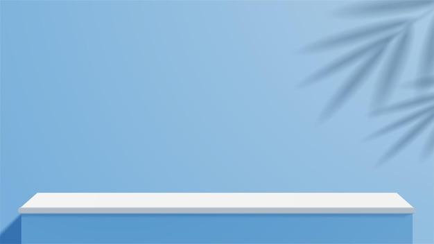 Mesa vazia de estúdio azul e branco com belas luzes e sombras. display de suporte em branco ou mostrando o produto.