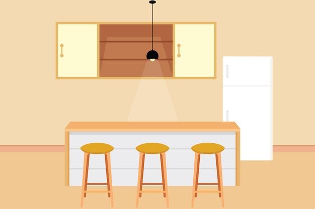 Mesas, cadeiras, guarda-roupas e geladeiras que compõem uma sala limpa. desenho vetorial de cozinha minimalista ou frigobar