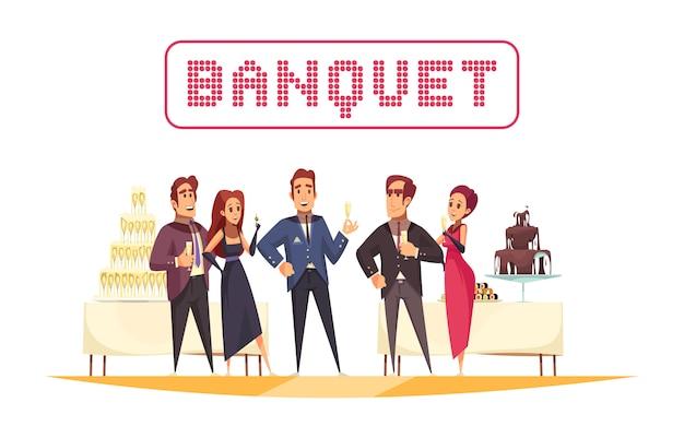 Mesas de banquete com organizador de alimentos e bebidas e convidados no desenho animado de fundo branco