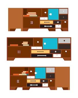 Mesas laterais com a ilustração de gavetas e portas
