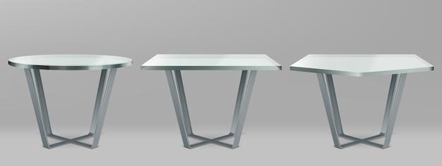 Mesas modernas com tampo de vidro redondo, quadrado e pentágono
